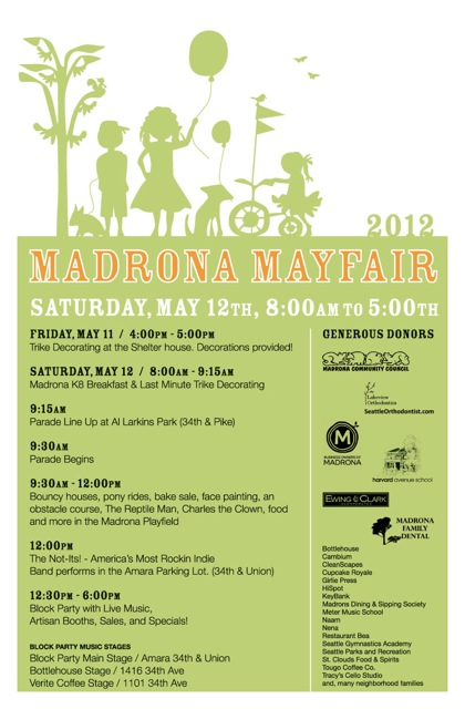 Madrona Mayfair 2012 Schedule